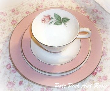 Lifetime China Cup & Saucer & Dessert Plate Pink Rose